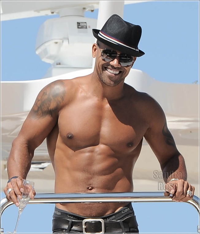 Shemar Moore at the boat in Cannes, France